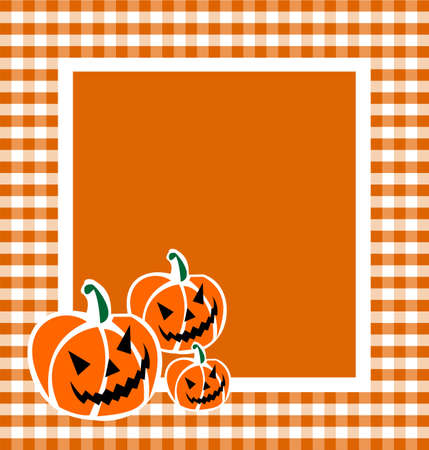 Halloween pumpkin faces in a grid framework. Orange background. Vector available  photo