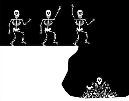 Halloween Skeleton jumping off a cliff. Four stages till bones piled up. Black background. Vector available photo
