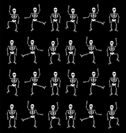 Halloween skeletons dancing on black background. Vector available photo