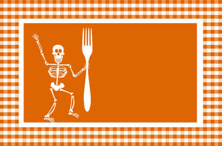 Halloween skeleton holding a fork in a grid framework. Orange background. Vector available photo