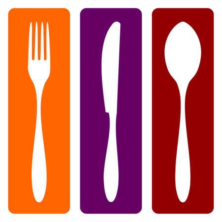 cuchillo y tenedor: Cubiertos iconos. Tenedor, cuchillo y cuchara de siluetas en distintos fondos. Vector disponible