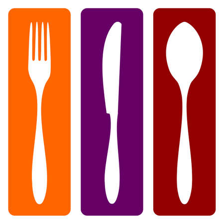 knife and fork: Cutlery icons. Fork, knife and spoon silhouettes on different backgrounds. Vector avaliable