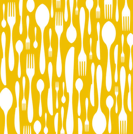 soup and salad: Spoon, knife and fork pattern. White color on yellow background. Vector available Illustration