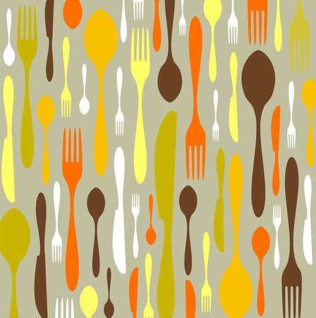 Spoon, knife and fork pattern. Warm colors on clear background. Vector available Stock Vector - 5615704