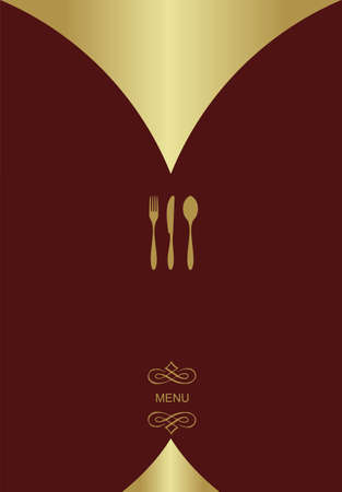 Vintage Menu Background. Food and restaurant design with golden cutlery silhouette. Vector available Vector