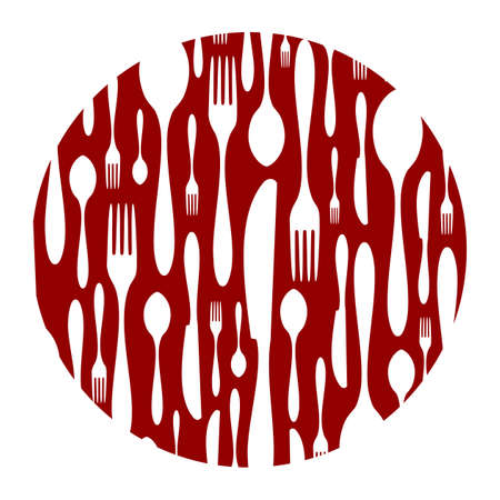 consume: Spoon, knife and fork rounded pattern. Food, restaurant, menu design with cutlery silhouette background. Suitable for print on a plate. Vector available Illustration