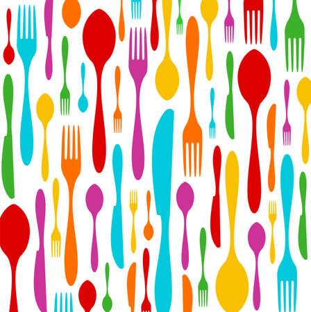 Cubiertos siluetas de colores de fondo. Cuchara, el cuchillo y el tenedor patrón sobre blanco. Vector disponible