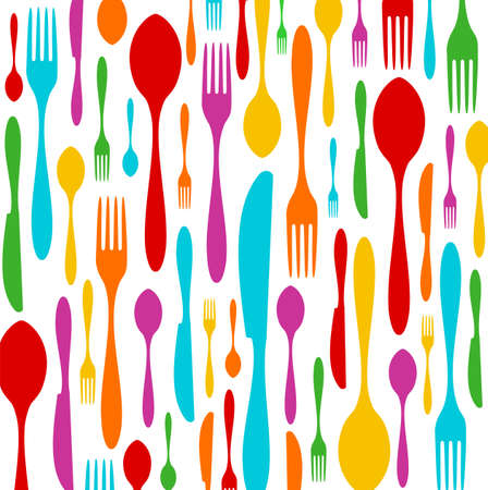 Cutlery colorful silhouettes background. Spoon, knife and fork pattern over white. Vector available