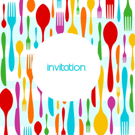 dinner menu: Food, restaurant, menu design with colorful cutlery silhouette background. Suitable as invitation dinner card. Vector available