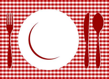 Configuración de lugar. Plato, cuchara, horquilla, cuchillo y la placa sobre mantel de azulejos de gingham de tejido de la Cruz Roja. Alimentos, restaurante, diseño de menú con cuchillería y placa de fondo de siluetas. Vector disponible  Ilustración de vector