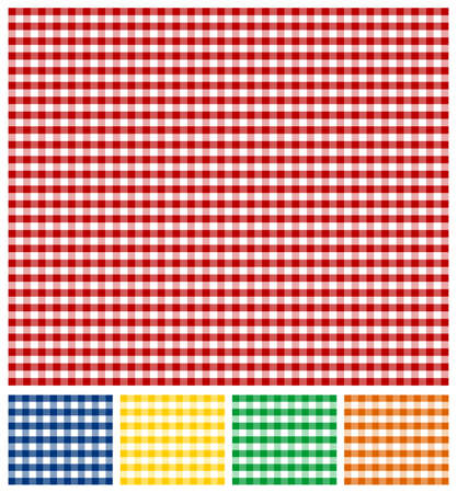 gingham: Cross-weave Gingham Seamless Tiles: Red and white background. Same pattern in Yellow, Green, Blue and Orange, below. Vector available.