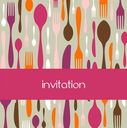 colores calidos: Comida, restaurante, dise�o de men� con fondo la silueta cubiertos. Los colores c�lidos. Apta como tarjeta de invitaci�n a cenar. Vector disponible Foto de archivo