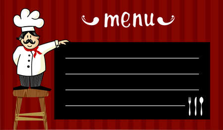 Funny chef on a wooden bench, holding a blackboard where the menu is written daily. Striped red background.  Vector