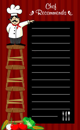dining: Funny chef on several wooden benches, holding a blackboard where the recommendations are written daily. Vegetables at left corner. Striped red background.
