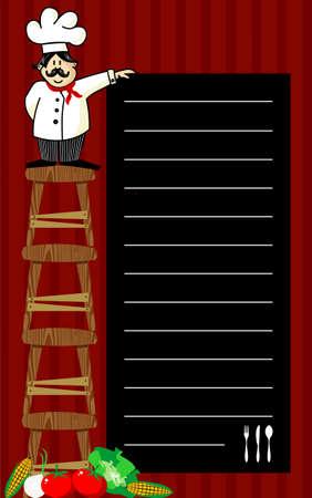 uitnodigen: Grappige chef op verschillende houten bankjes, houden een bord waar de aanbevelingen dagelijks worden geschreven. Groenten bij linkerhoek. Gestreepte rode achtergrond.