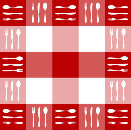 gingham: Food, restaurant, menu design with cutlery silhouettes pattern on red tablecloth texture. Vector available Illustration
