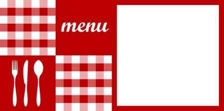 cocina vieja: Comida, restaurante, dise�o de men� con las siluetas cubiertos, mantel rojo y la textura de espacio en blanco para el texto de la muestra. Vector disponible