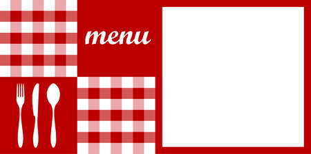 on the tablecloth: Food, restaurant, menu design with cutlery silhouettes, red tablecloth texture and white space for sample text. Vector available