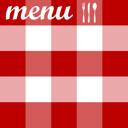 Food, restaurant, menu design with cutlery silhouettes on red tablecloth texture. Vector available Vector