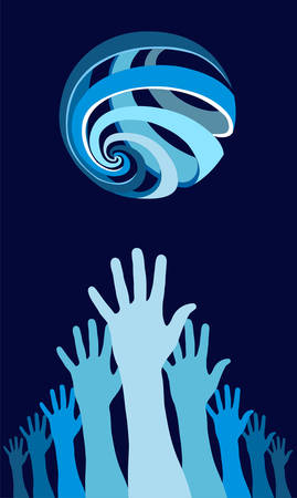 world peace: Raised hands with a world globe icon over them. Concept of harmony in the world. Blue background. Vector file available.