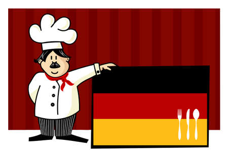 in german: Chef of german cuisine. Food, restaurant, menu design with cutlery silhouette on the country flag. Striped red background. Vector available Illustration