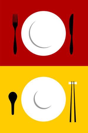 settings: Plaats de achtergronden van de instelling voor de westelijke en Oriental voedsel. Vork, mes, plaat, lepel en chopsticks op de achtergrond met rood en geel. Vector beschikbaar Stock Illustratie
