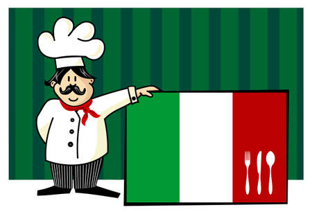 italian cuisine: Chef of italian cuisine. Food, restaurant, menu design with cutlery silhouette on the country flag. Striped green background. Vector available