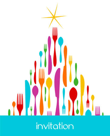 Christmas Tree Cutlery. Fork, spoon and knife colorful pattern forming a tree with a shiny golden star on top. White background. Usable as invitation card. Vector file available. Stock Vector - 5652452