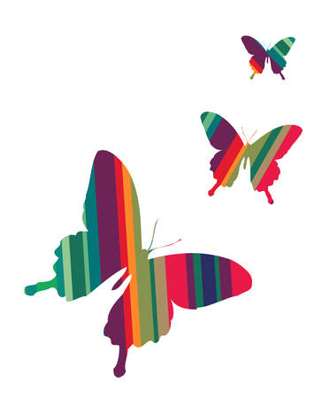 red butterfly: Butterflies colorful striped textured on white background. Vector available