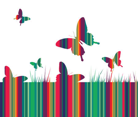 Butterfly and spring motif design. Striped colored texture with growing grass on white background. Vector available Vector