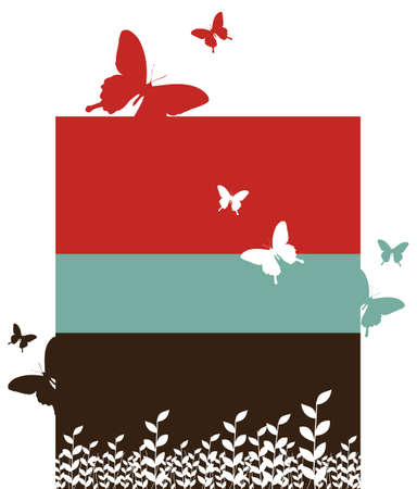 vertical bars: Butterfly and leaf pattern. Spring motif design on red, black and blue vertical bars. White background. Vector available