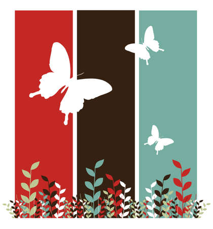 Butterfly and leaf pattern. Spring motif design on red, black and blue vertical bars. White background. Vector available Vector
