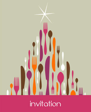 christmas catering: Christmas Tree Cutlery. Fork, spoon and knife pattern forming a tree with a shiny white star on top. Pastel color background. Usable as invitation card. Vector file available.