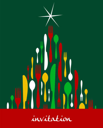 Christmas Tree Cutlery. Fork, spoon and knife pattern forming a tree with a shiny white star on top. Green background. Usable as invitation card. Vector file available. Vector
