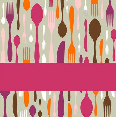 cubiertos de plata: Alimentos, restaurante, dise�o de men� con fondo de silueta de cuchiller�a. Colores c�lidos. Adecuado como tarjeta de cena de invitaci�n.  Vectores