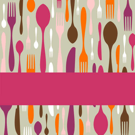 kitchen illustration: Food, restaurant, menu design with cutlery silhouette background. Warm colors. Suitable as invitation dinner card.