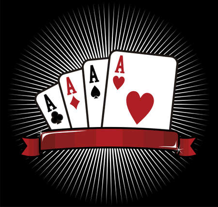 Four aces. Casino Poker Cards on black background. Vector
