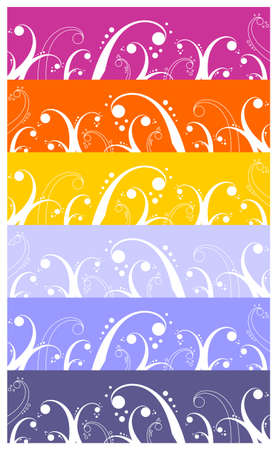 Background with waves, curls and bubbles pattern, element for design.  Wide colorful strip background. Stock Vector - 5701538