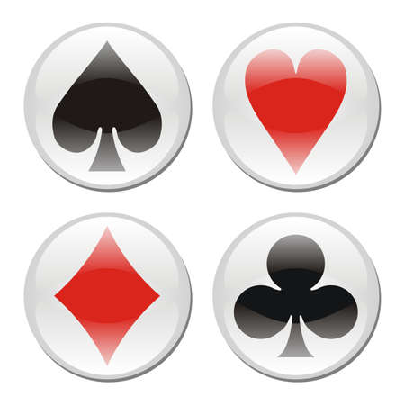 ace of spades: Glossy playcard icons framed in circles on white background. Vector available Illustration