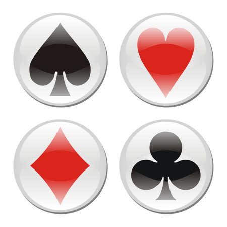 Iconos de playcard brillante enmarcados en círculos sobre fondo blanco. Vector disponible