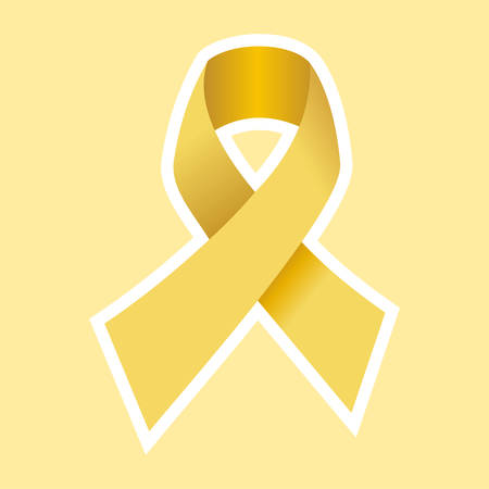 cancer ribbon: Cancer Yellow Ribbon in Gold. Light Yellow Background. Vector file