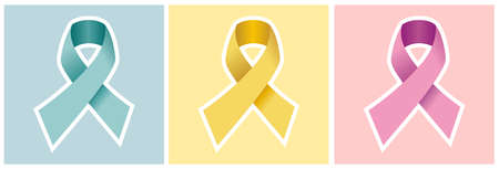 childhood cancer: CANCER RIBBON SET in blue yellow and pink backgrounds. Symbols of prostate, childhood and breast cancer awareness. Vector file