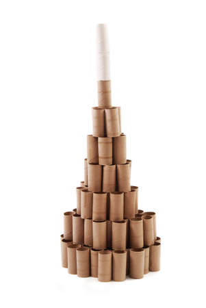 Christmas Tree made with cardboard rolls of toilet paper. White background photo