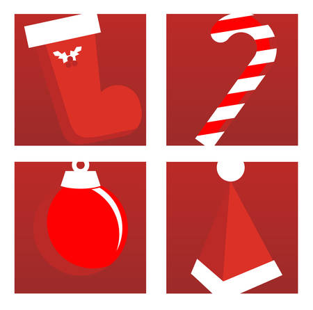 candy bar: Icone natalizie sfondo rosso: avvio di Babbo, candy bar, xmas tree palloncino e cappello. Illustrazione vettoriale