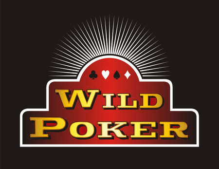 Casino Poker icons on red banner. Black background. Vector illustration Stock Vector - 5847563