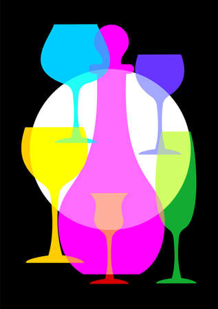 Colorful wine glasses and bottle set on black background Vector