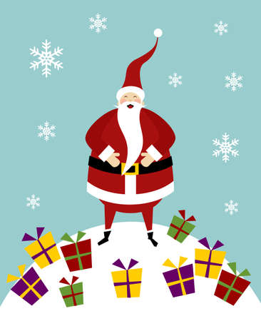 Happy Santa Claus standing on a snow mountain with a lot of colorful gifts. Stock Vector - 5876013