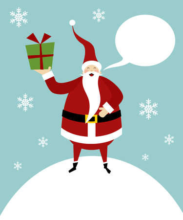 Santa Claus standing on a snow mountain with a gift on his right hand and a blank comic balloon.  Vector