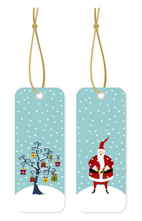 Happy Santa Claus standing on a snow mountain and Christmas tree with lots of gifts hang tags Vector
