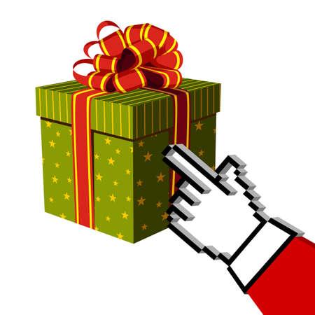 Christmas gift and Santa e-buying with a handcursor. E-commerce concept. Vector